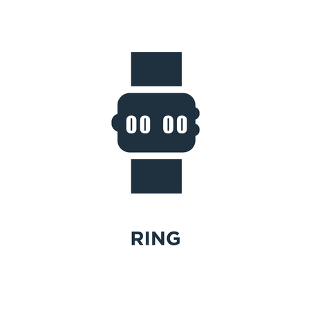 Ring icon. Black filled vector illustration. Ring symbol on white background. Can be used in web and mobile.