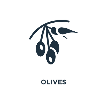 Olives icon. Black filled vector illustration. Olives symbol on white background. Can be used in web and mobile. Illusztráció