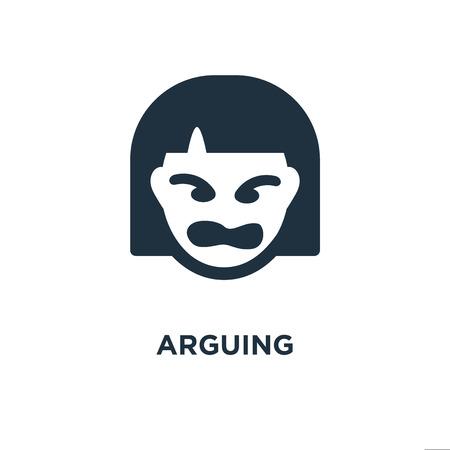 Streitendes Symbol. Schwarz gefüllte Vektorillustration. Argumentationssymbol auf weißem Hintergrund. Kann im Web und mobil verwendet werden.
