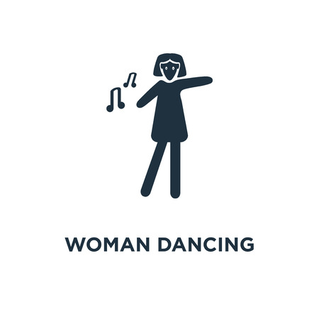 Woman Dancing icon. Black filled vector illustration. Woman Dancing symbol on white background. Can be used in web and mobile.