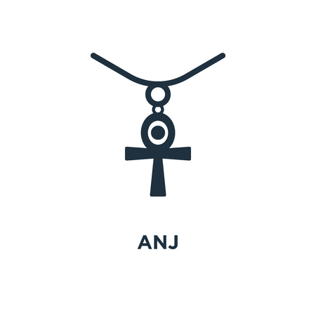 Anj icon. Black filled vector illustration. Anj symbol on white background. Can be used in web and mobile.