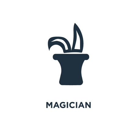 Magician icon. Black filled vector illustration. Magician symbol on white background. Can be used in web and mobile.