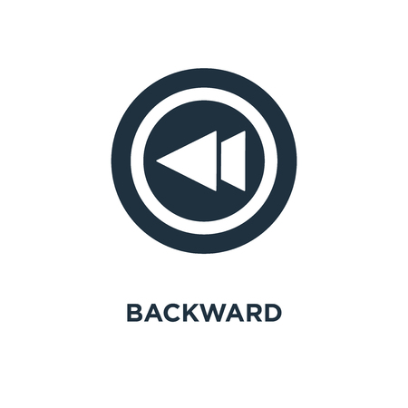 Backward icon. Black filled vector illustration. Backward symbol on white background. Can be used in web and mobile.