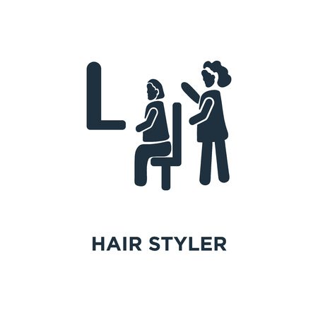 Hair Styler icon. Black filled vector illustration. Hair Styler symbol on white background. Can be used in web and mobile.