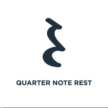 Icône de repos de quart de note. Illustration vectorielle remplie de noir. Symbole de repos de note sur fond blanc. Peut être utilisé dans le Web et le mobile.