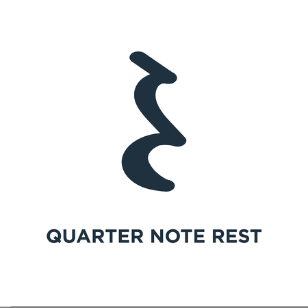 Quarter note rest icon. Black filled vector illustration. Quarter note rest symbol on white background. Can be used in web and mobile.