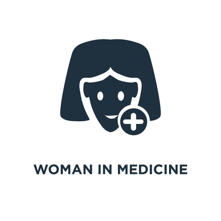 Woman In Medicine icon. Black filled vector illustration. Woman In Medicine symbol on white background. Can be used in web and mobile.