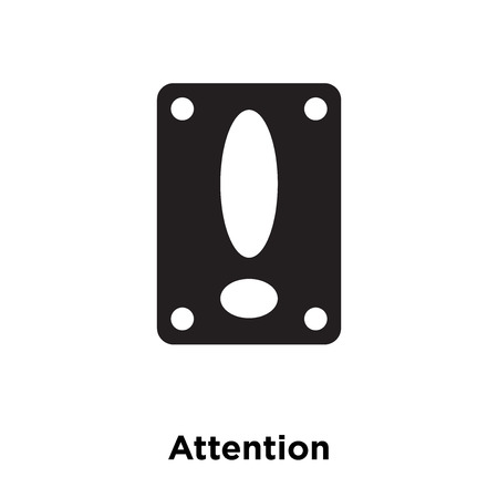 Attention icon vector isolated on white background, logo concept of Attention sign on transparent background, filled black symbol Illustration