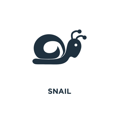 Snail icon. Black filled vector illustration. Snail symbol on white background. Can be used in web and mobile. Illustration