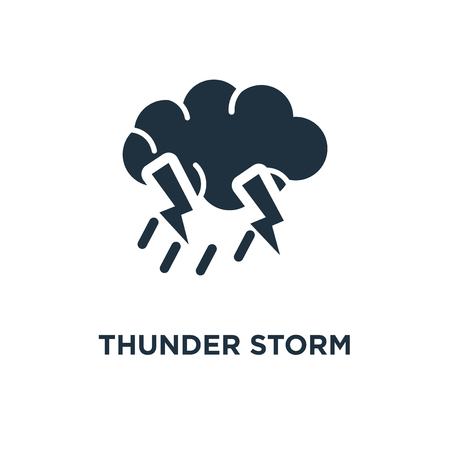 Thunder Storm icon. Black filled vector illustration. Thunder Storm symbol on white background. Can be used in web and mobile.