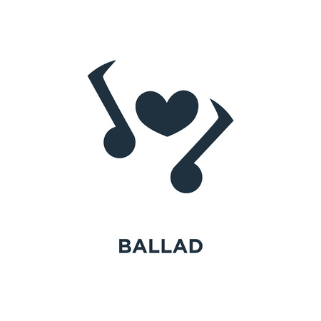 Ballad icon. Black filled vector illustration. Ballad symbol on white background. Can be used in web and mobile. Illustration