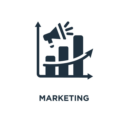 Marketing icon. Black filled vector illustration. Marketing symbol on white background. Can be used in web and mobile. Illustration