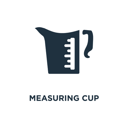 Measuring Cup icon. Black filled vector illustration. Measuring Cup symbol on white background. Can be used in web and mobile. Stock Illustratie