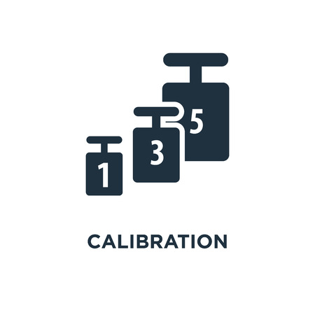 Calibration icon. Black filled vector illustration. Calibration symbol on white background. Can be used in web and mobile.