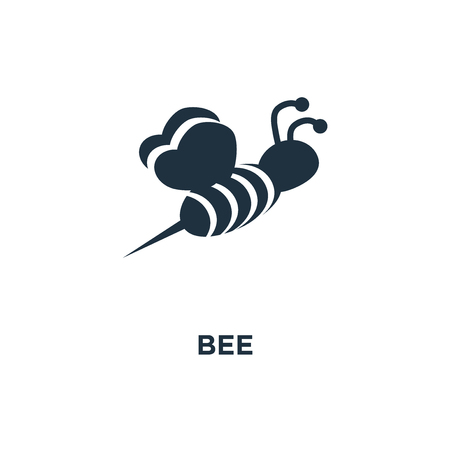 Bee icon. Black filled vector illustration. Bee symbol on white background. Can be used in web and mobile.