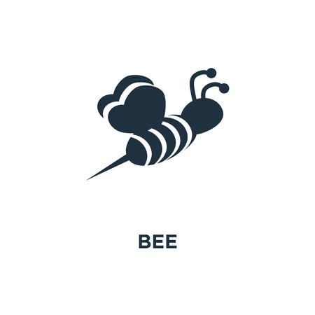 Biene-Symbol. Schwarz gefüllte Vektorillustration. Bienensymbol auf weißem Hintergrund. Kann im Web und mobil verwendet werden.