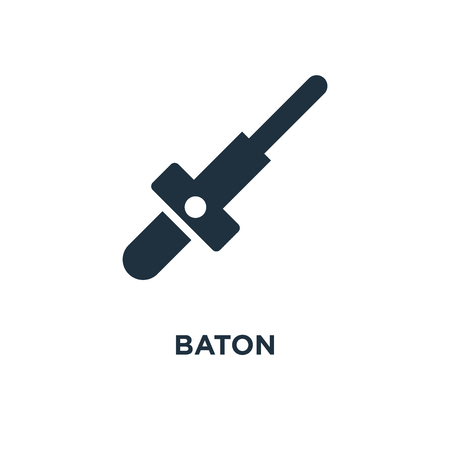 Baton icon. Black filled vector illustration. Baton symbol on white background. Can be used in web and mobile.