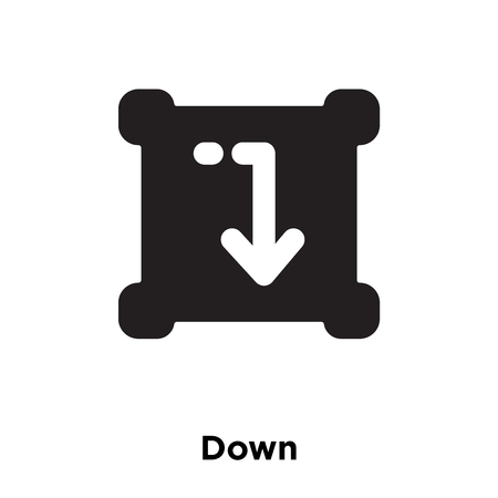 Down icon vector isolated on white background, logo concept of Down sign on transparent background, filled black symbol