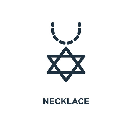 Necklace icon. Black filled vector illustration. Necklace symbol on white background. Can be used in web and mobile. Çizim