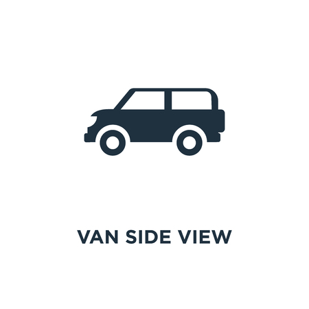 Van side view icon. Black filled vector illustration. Van side view symbol on white background. Can be used in web and mobile.