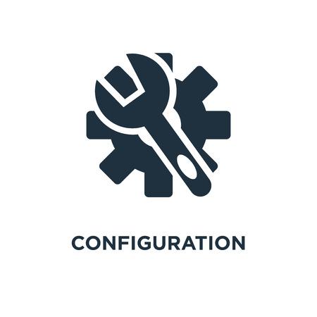 Konfigurationssymbol. Schwarz gefüllte Vektorillustration. Konfigurationssymbol auf weißem Hintergrund. Kann im Web und mobil verwendet werden.