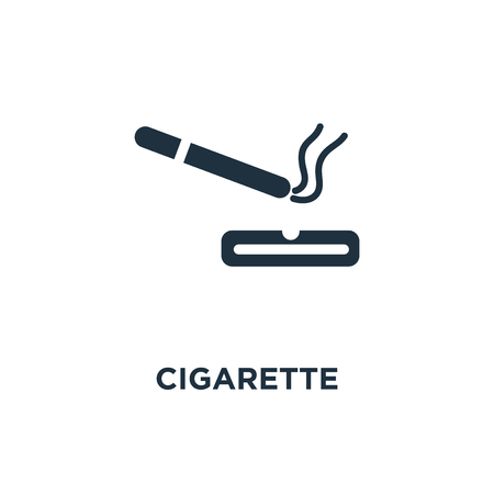 Cigarette icon. Black filled vector illustration. Cigarette symbol on white background. Can be used in web and mobile.