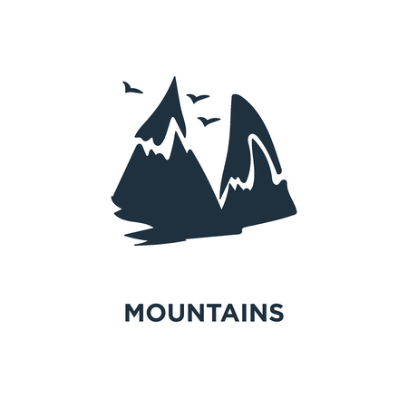 Mountains icon. Black filled vector illustration. Mountains symbol on white background. Can be used in web and mobile.