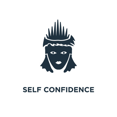 Self Confidence icon. Black filled vector illustration. Self Confidence symbol on white background. Can be used in web and mobile.