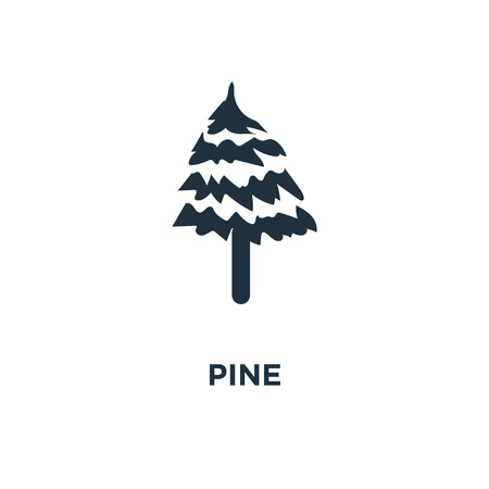Pine icon. Black filled vector illustration. Pine symbol on white background. Can be used in web and mobile. Ilustração