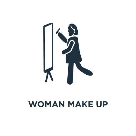 Frau Make-up-Symbol. Schwarz gefüllte Vektorillustration. Frau bilden Symbol auf weißem Hintergrund. Kann im Web und mobil verwendet werden. Vektorgrafik