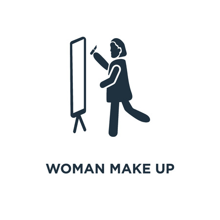 Woman Make Up icon. Black filled vector illustration. Woman Make Up symbol on white background. Can be used in web and mobile. Vektoros illusztráció