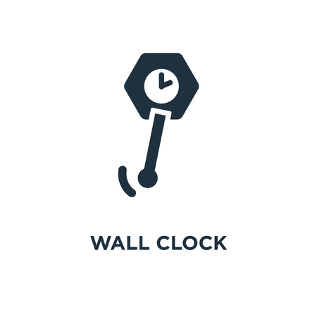 Wall clock icon. Black filled vector illustration. Wall clock symbol on white background. Can be used in web and mobile.