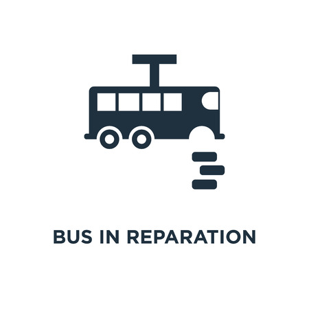 Bus in reparation icon. Black filled vector illustration. Bus in reparation symbol on white background. Can be used in web and mobile.