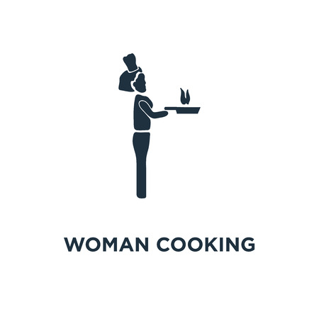 Woman Cooking icon. Black filled vector illustration. Woman Cooking symbol on white background. Can be used in web and mobile.