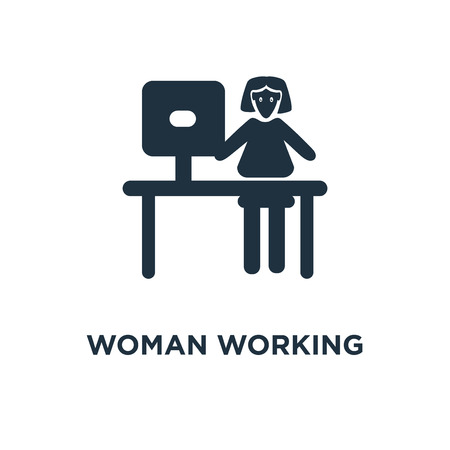 Woman Working icon. Black filled vector illustration. Woman Working symbol on white background. Can be used in web and mobile.