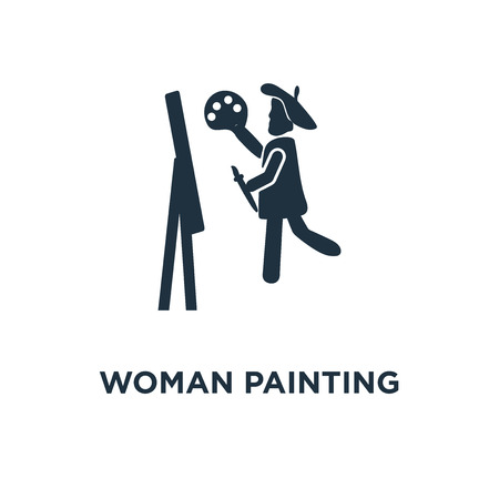 Woman Painting icon. Black filled vector illustration. Woman Painting symbol on white background. Can be used in web and mobile.