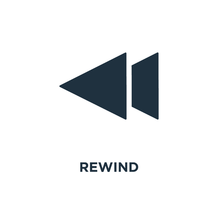 Rewind icon. Black filled vector illustration. Rewind symbol on white background. Can be used in web and mobile.