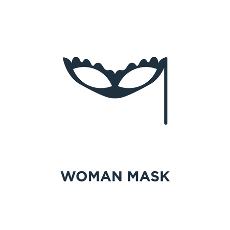 Woman Mask icon. Black filled vector illustration. Woman Mask symbol on white background. Can be used in web and mobile. Stock Vector - 112692945