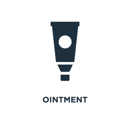 Ointment icon. Black filled vector illustration. Ointment symbol on white background. Can be used in web and mobile.