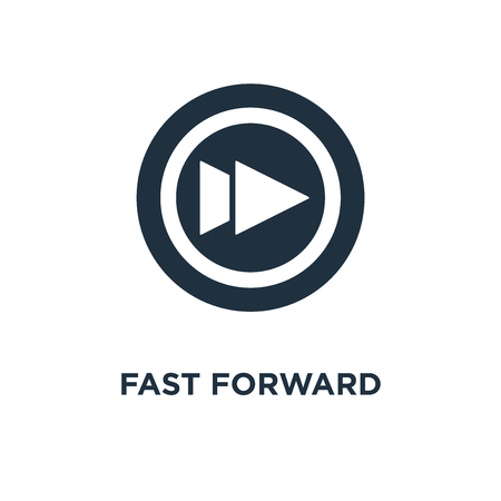 Fast forward icon. Black filled vector illustration. Fast forward symbol on white background. Can be used in web and mobile.