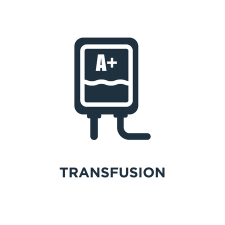 Transfusion icon. Black filled vector illustration. Transfusion symbol on white background. Can be used in web and mobile. Stock Vector - 112629202