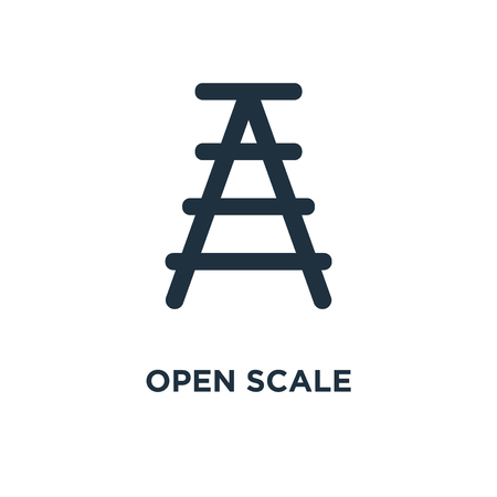 Open Scale icon. Black filled vector illustration. Open Scale symbol on white background. Can be used in web and mobile.