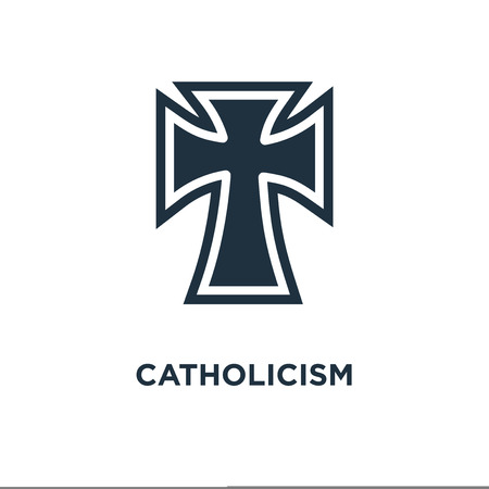 Catholicism icon. Black filled vector illustration. Catholicism symbol on white background. Can be used in web and mobile. 일러스트