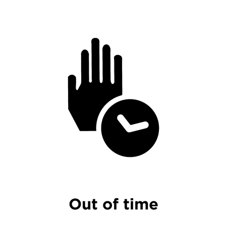 Out of time icon vector isolated on white background, logo concept of Out of time sign on transparent background, filled black symbol Logo