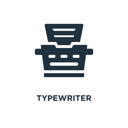 Typewriter icon. Black filled vector illustration. Typewriter symbol on white background. Can be used in web and mobile. Ilustrace