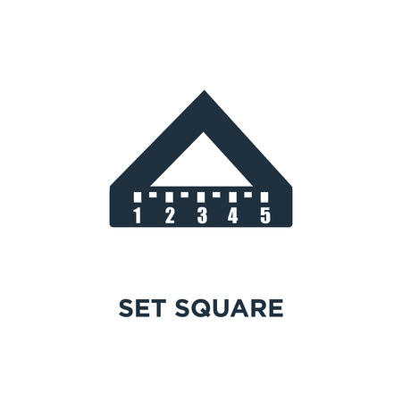 Set square icon. Black filled vector illustration. Set square symbol on white background. Can be used in web and mobile.