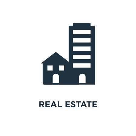 Real estate icon. Black filled vector illustration. Real estate symbol on white background. Can be used in web and mobile. Vectores