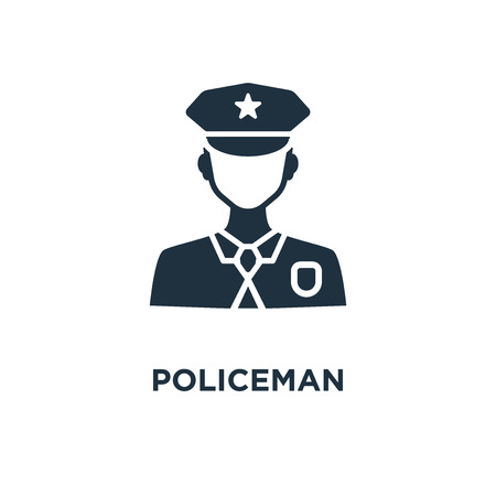 Policeman icon. Black filled vector illustration. Policeman symbol on white background. Can be used in web and mobile.