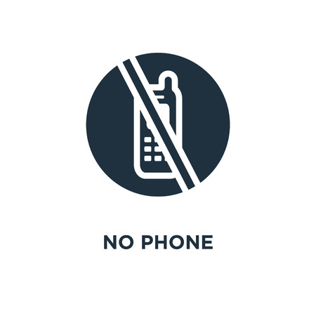 No phone icon. Black filled vector illustration. No phone symbol on white background. Can be used in web and mobile.