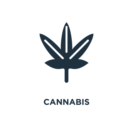 Cannabis icon. Black filled vector illustration. Cannabis symbol on white background. Can be used in web and mobile. Ilustração